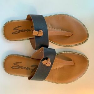Seven Black and Tan Sandals